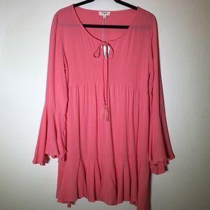 Umgee Boho Coral ruffle bottom dress or tunic M